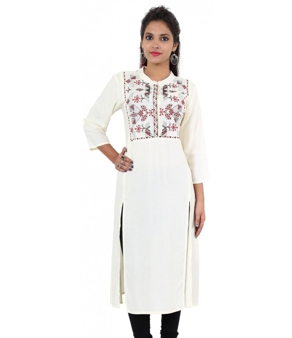 Solid Off-White Embroidered Long Viscose Women's Kurti