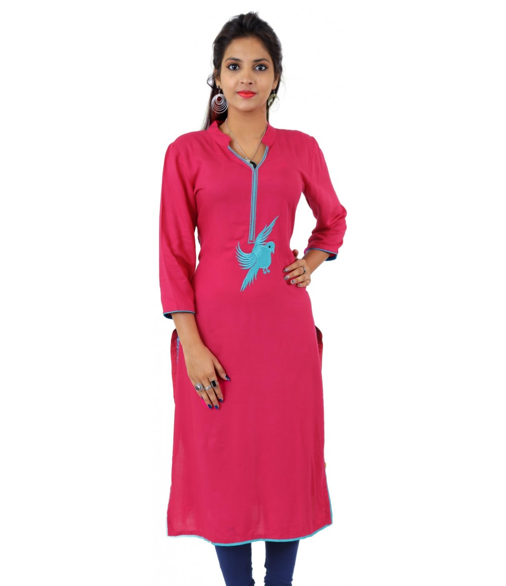 Solid Pink Embroidered Long V-Neck Viscose Women's Kurti