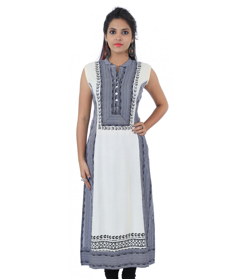 Printed Off-White Long Sleeveless Viscose Women's Kurti