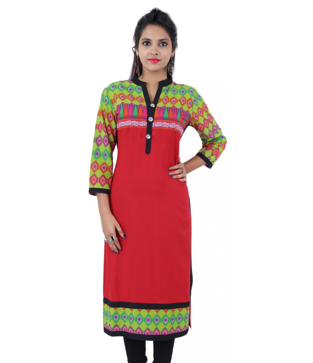 Printed Red Embellished Long Viscose Women's Kurti