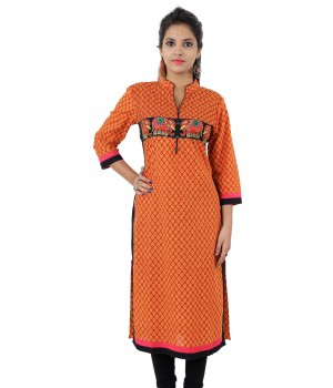 Printed Orange Embroidered Long Cotton Women's Kurti