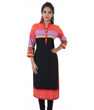 Printed Black Color Embellished Long Viscose Women's Kurti