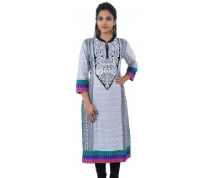 White Embroidered Long Chinese Collar Cotton Women's Kurti