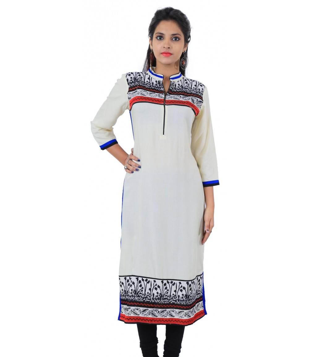 Off-White Printed Long Mandarin Collar Viscose Women Kurti