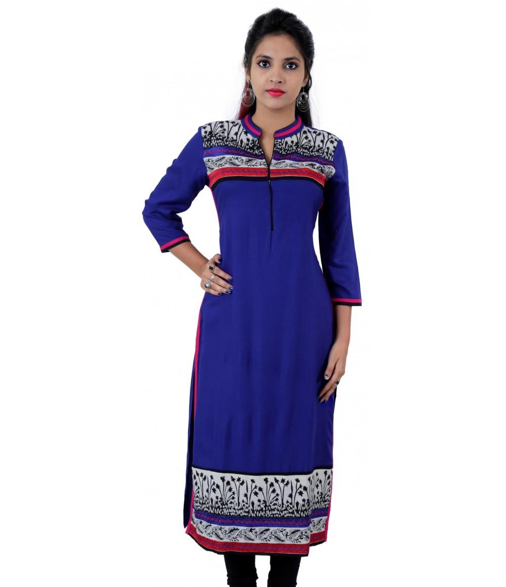 Printed Royal Blue Color Long Mandarin Collar Viscose Women's Kurti