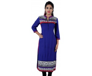 Printed Royal Blue Color Long Mandarin Collar Viscose Women's Kurti