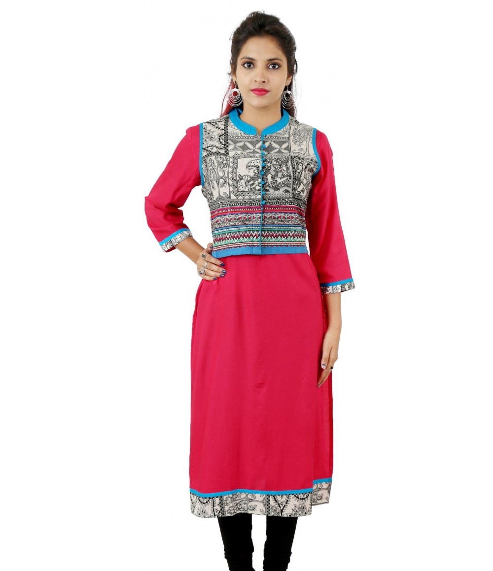 Solid Pink Jacket Style Blue Collar Viscose Women's Kurti