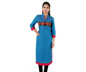 Blue Printed Embroidered Long Mandarin Collar Cotton Women's Kurti