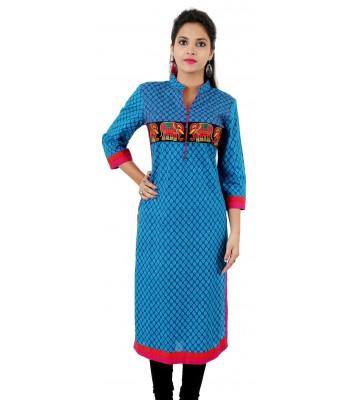Blue Printed Embroidered Long Mandarin Collar Cotton Women's Kurti