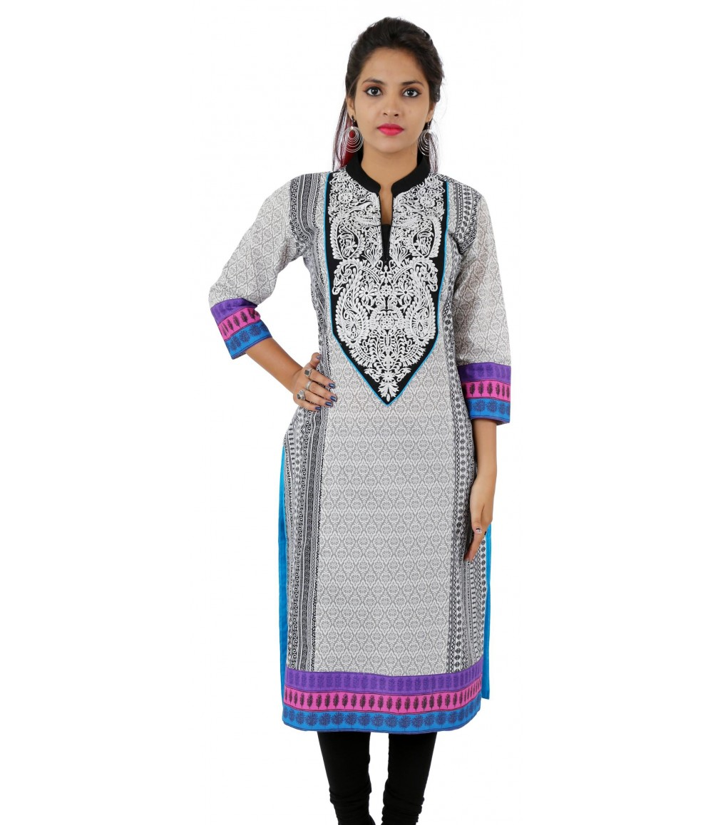 White Printed Chinese Collar Long Cotton Women's kurti