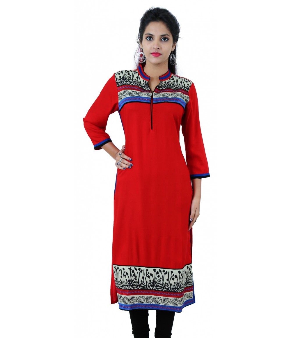 Printed Red Long Mandarin Collar Viscose Women's Kurti