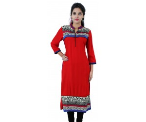 Printed Red Long Mandarin Collar Viscose Women's Kurti