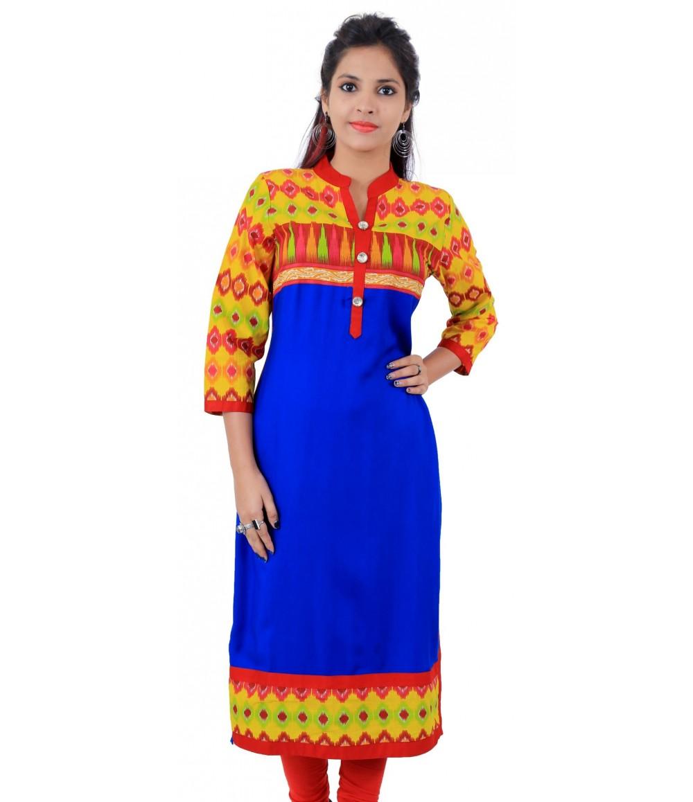 Printed Royal Blue Color Long Embellished Viscose Women's Kurti