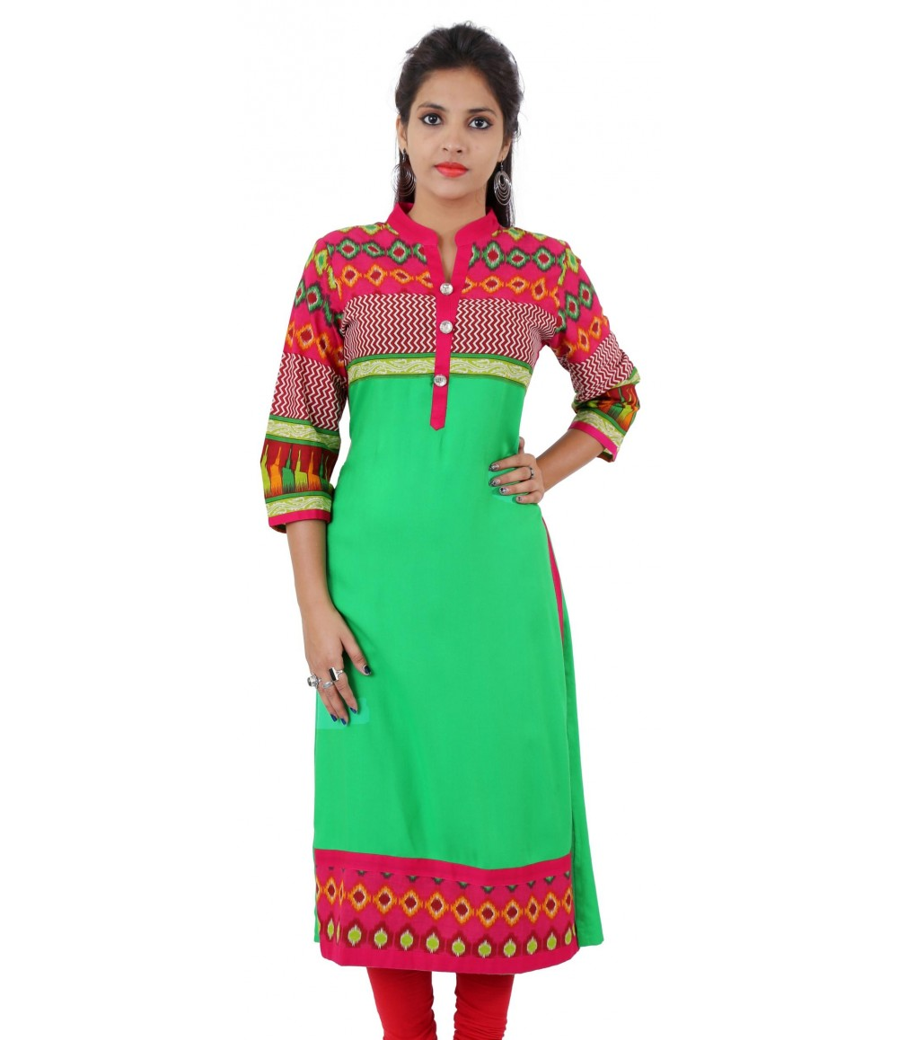 Printed Parrot Green Color Long Embellished Viscose Women's Kurti