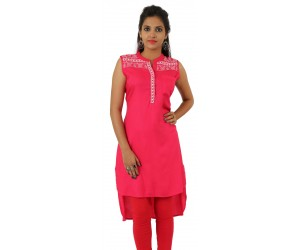 Pink Embroidered Long Chinese Collar Viscose Women's Kurti