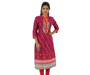Printed Maroon Color Embroidered Long Women's Kurti
