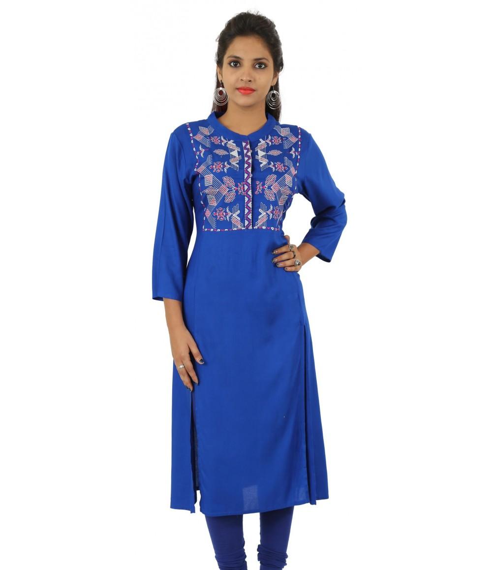 Navy Blue Embroidered Long Viscose Women's Kurti