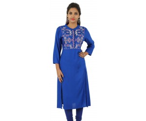 Navy Blue Embroidered Long Viscose Women's Kurti