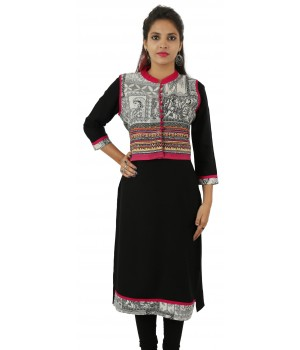 Solid Black Jacket Style Long Viscose Women's Kurti