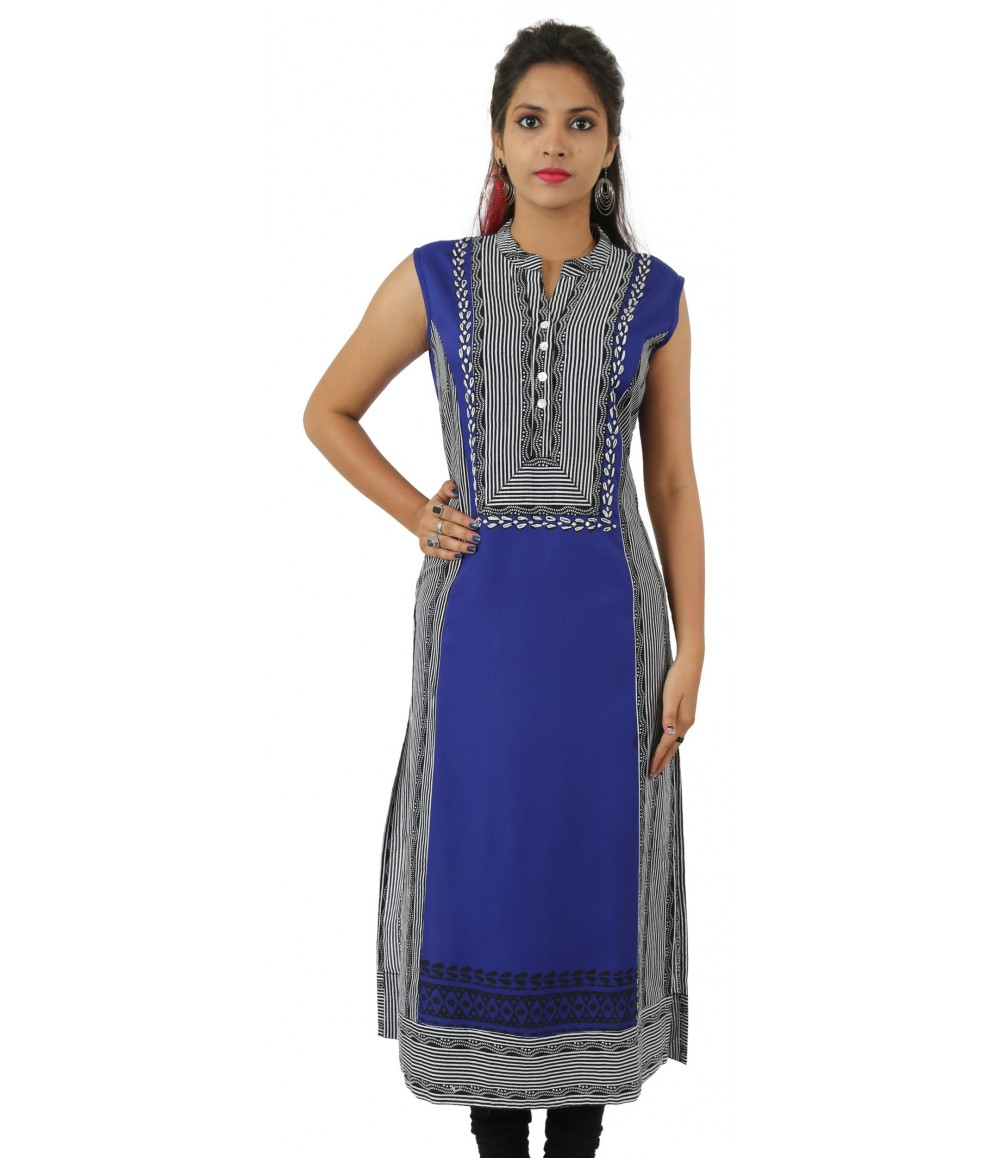 Navy Blue Embroidered Long Sleeveless Viscose Women Kurti