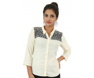 Off-White Embroidered Collar Neck Viscose Casual Women's Shirt