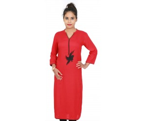 Solid Red Embroidered Long Women Kurti