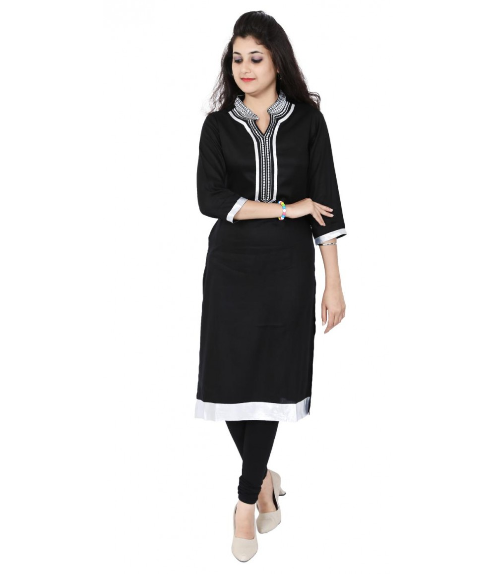 Solid Black Zari Collar Neck Long Kurti