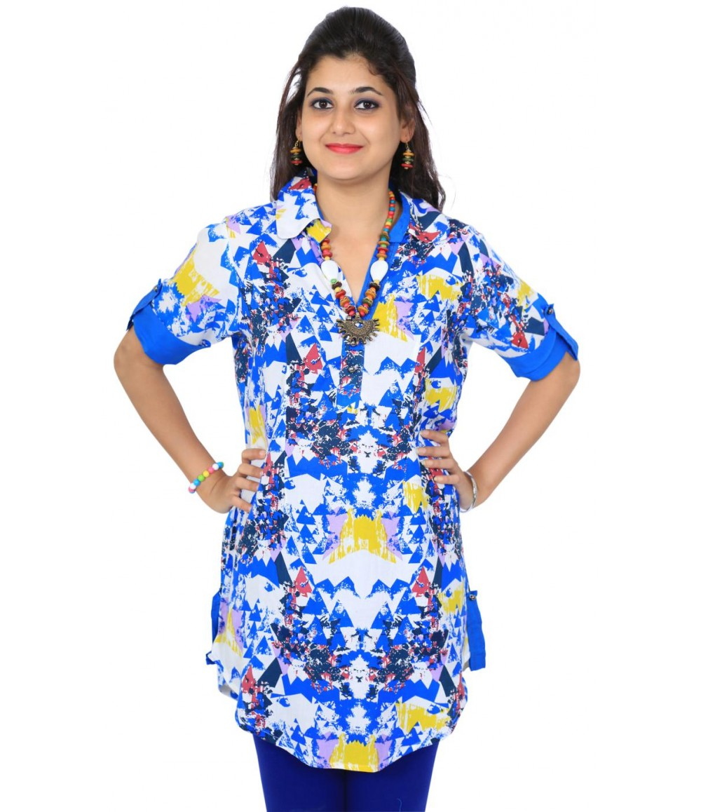 Casual Graphic Print Blue Women Kurti