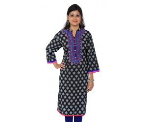 Printed Black Straight Women Kurti