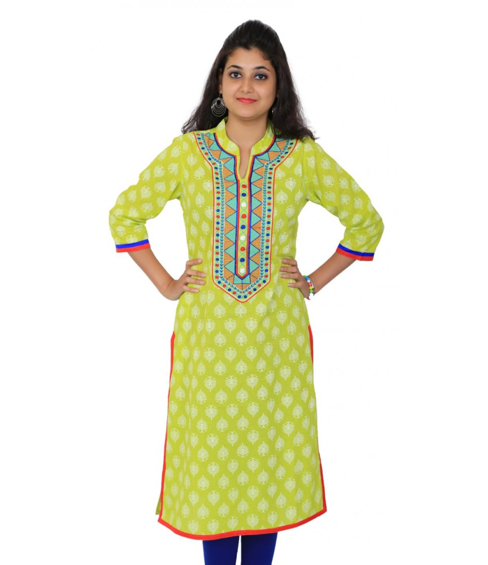 Printed Green Straight Women Kurti