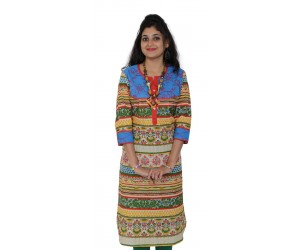 Solid Blue Women Straight Kurti