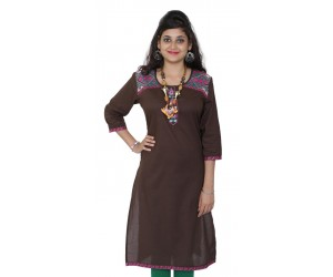 Embroidered Solid Brown Straight Kurti