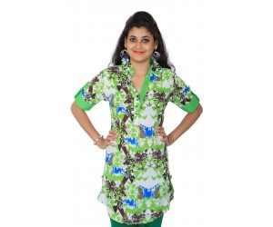Casual Printed Light Green Cotton Kurti
