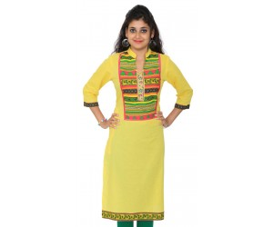 Solid Yellow Women Straight  Kurti