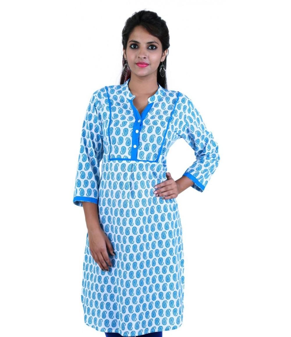 Block Printed Blue Cotton Women Kurti