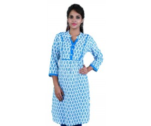 Block Printed Blue Cotton Women Kurti
