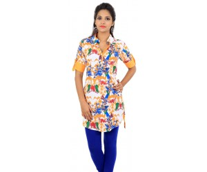 Graphic Print Orange Women's Kurti