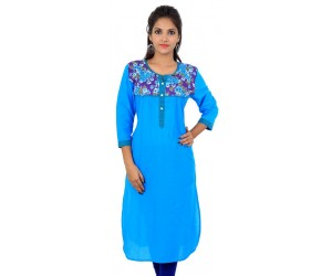 Floral Printed Blue Women's Kurti