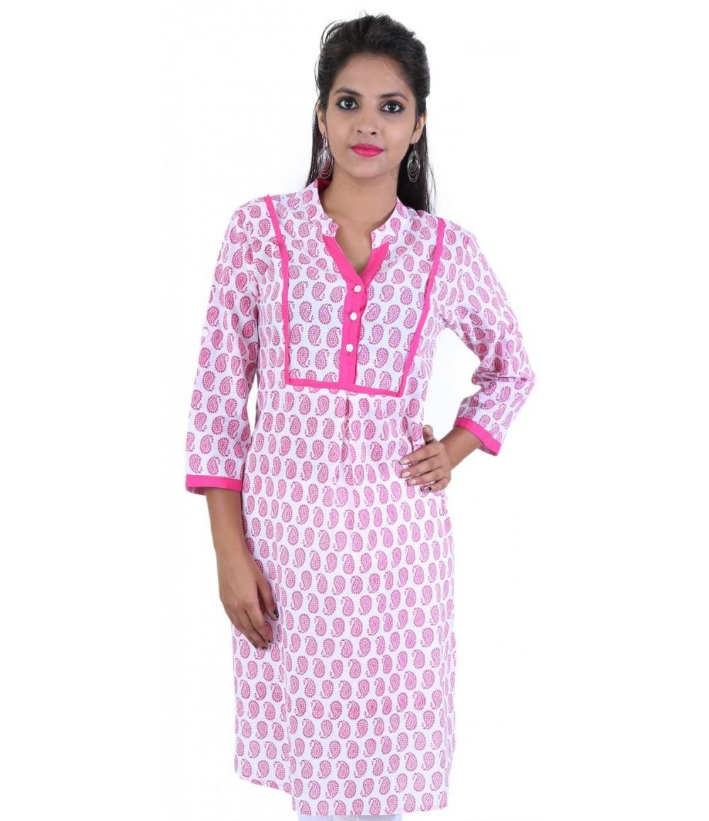 Block Printed Pink Cotton Women Kurti