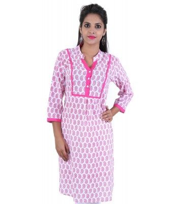 Block Printed Pink Cotton Women Kurti