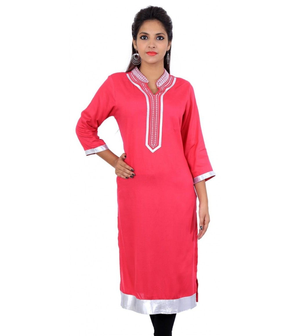 Solid Pink Zari Collar Neck Long Kurti
