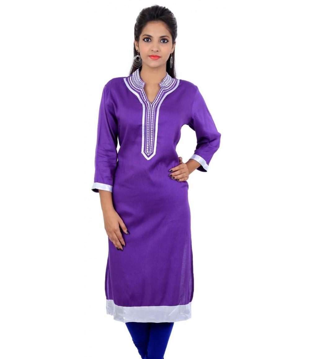 Solid Purple Zari Chinese Collar Long Kurta