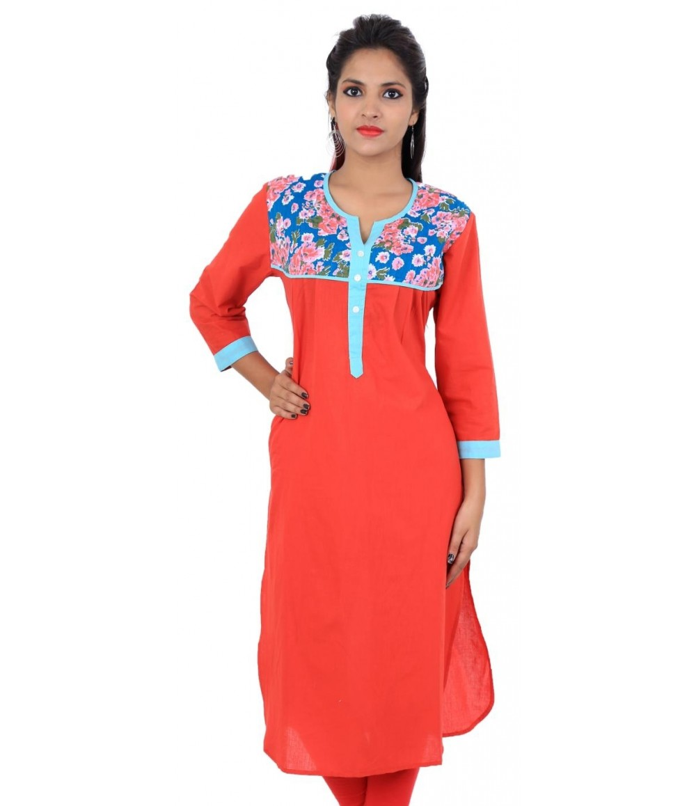 Graphic Printed Red Women's Kurta