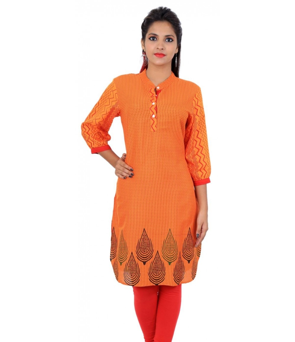 Printed Orange Women's Kurti