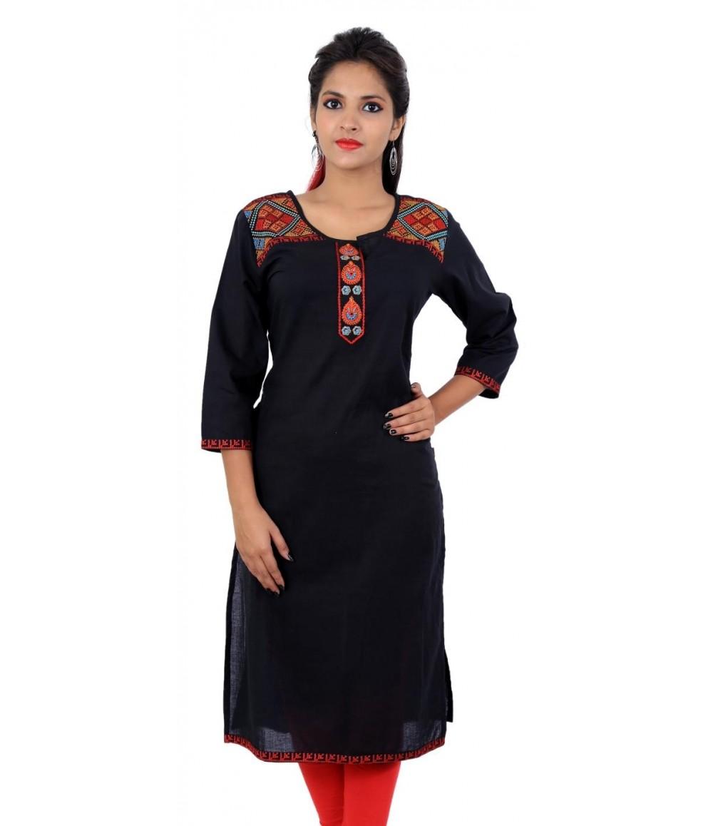 Embroidered Solid Black Straight Kurta