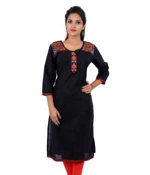 Embroidered Solid Black Straight Kurta