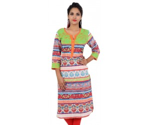 Floral Print Green Women's Straight Kurta