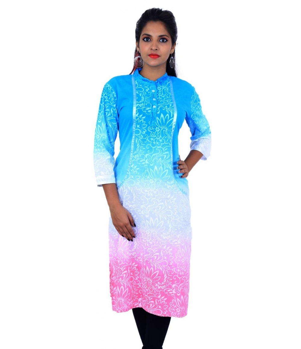 Tri-Color Floral Print Women's kurti
