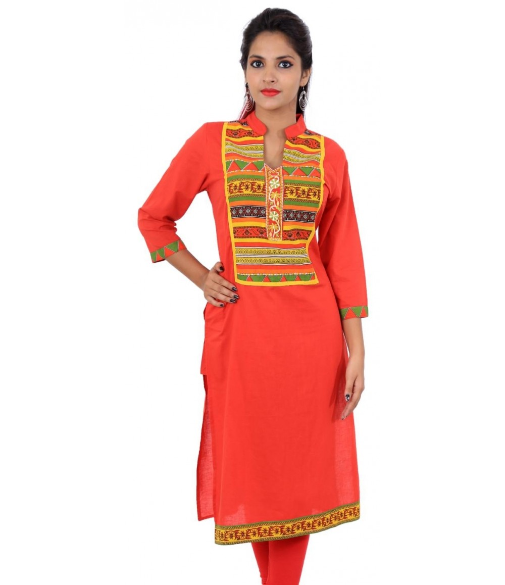 Solid Red Women Straight  Kurti