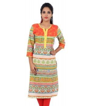 Orange Women Straight Kurti